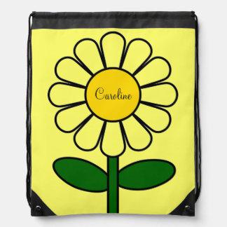 Nombre de encargo opcional de la flor amarilla gra mochilas