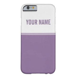 Nombre de encargo púrpura violeta de las rayas funda para iPhone 6 barely there