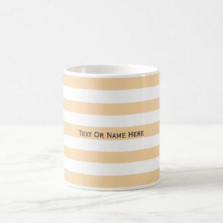 Nombre de encargo rayas rosadas y blancas de taza de café