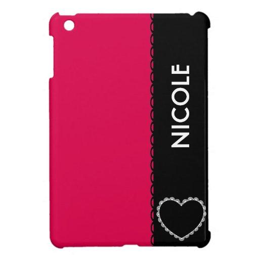 Nombre de encargo retro del fondo rosado de Fushia iPad Mini Carcasas