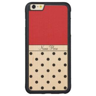 Nombre de encargo rojo, monograma negro de los funda para iPhone 6 plus de carved® de nogal