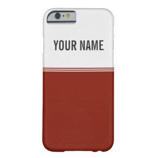 Nombre de encargo rojo real de las rayas modernas funda para iPhone 6 barely there