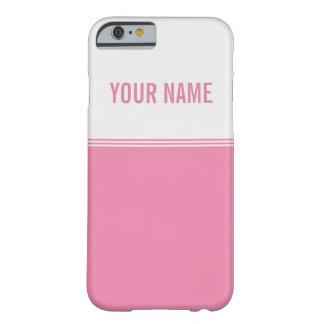 Nombre de encargo rosado dulce de las rayas funda para iPhone 6 barely there
