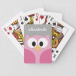 Nombre de encargo rosado y gris del búho lindo del cartas de juego