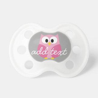 Nombre de encargo rosado y gris del búho lindo del chupete de bebé