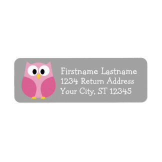 Nombre de encargo rosado y gris del búho lindo del etiqueta de remite