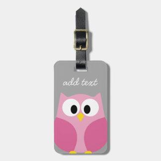 Nombre de encargo rosado y gris del búho lindo del etiquetas de equipaje