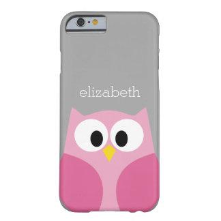 Nombre de encargo rosado y gris del búho lindo del funda barely there iPhone 6