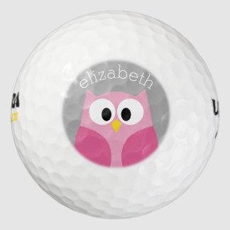 Nombre de encargo rosado y gris del búho lindo del pack de pelotas de golf