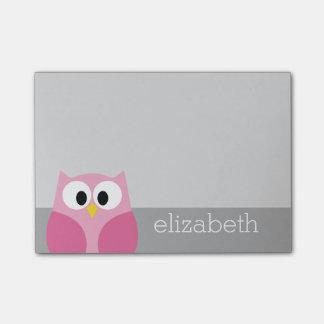 Nombre de encargo rosado y gris del búho lindo del post-it® nota