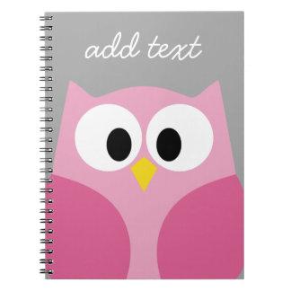 Nombre de encargo rosado y gris del búho lindo del spiral notebooks