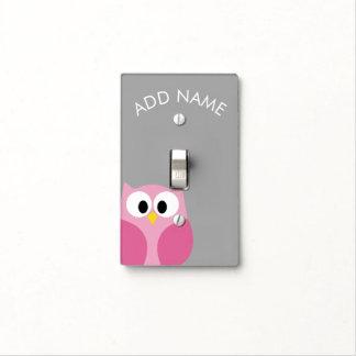 Nombre de encargo rosado y gris del búho lindo del tapas para interruptores