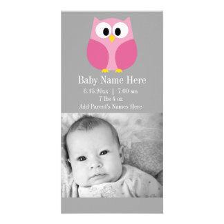 Nombre de encargo rosado y gris del búho lindo del tarjeta personal