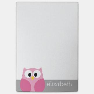 Nombre de encargo rosado y gris del búho lindo del post-it nota