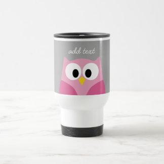 Nombre de encargo rosado y gris del búho lindo del taza térmica