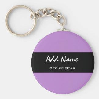 Nombre de encargo V01 del fondo púrpura de la Llavero Redondo Tipo Pin