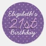 Nombre de encargo V2 cumpleaños púrpura de los Etiqueta Redonda