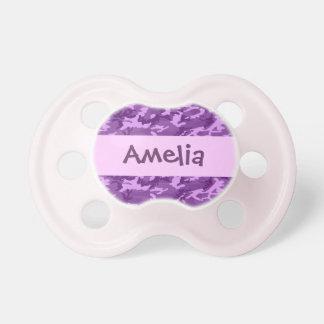 Nombre de encargo V33 de la niña púrpura de CAMO Chupete De Bebé