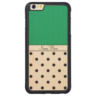 Nombre de encargo verde, monograma negro de los funda para iPhone 6 plus de carved® de nogal