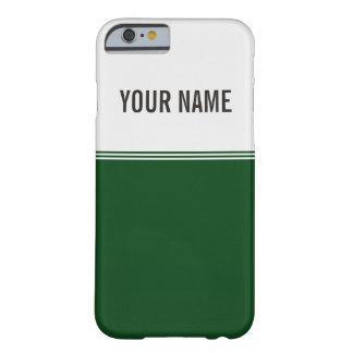 Nombre de encargo verde real de las rayas modernas funda de iPhone 6 barely there