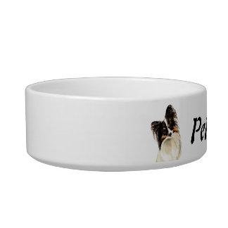 Nombre de encargo y foto Papillon, mascota, perro Comedero Para Mascota