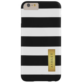 Nombre de etiqueta blanco negro clásico del oro funda de iPhone 6 plus barely there