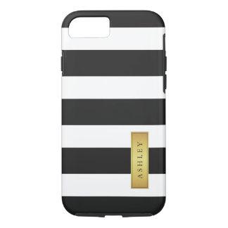 Nombre de etiqueta blanco negro clásico del oro funda iPhone 7