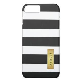 Nombre de etiqueta blanco negro clásico del oro funda iPhone 7 plus
