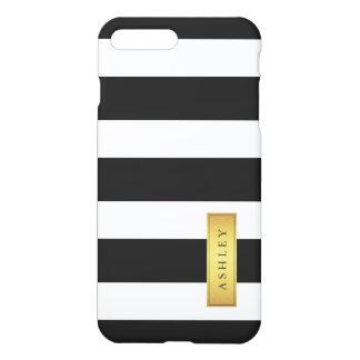 Nombre de etiqueta blanco negro clásico del oro funda para iPhone 7 plus