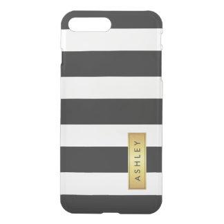 Nombre de etiqueta blanco negro clásico del oro fundas para iPhone 7 plus
