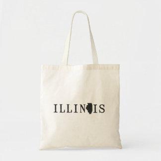 Nombre de Illinois con la letra formada estado Bolsa Tela Barata