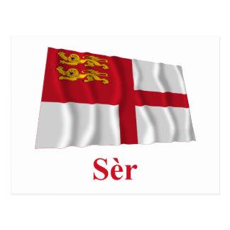 Nombre de la bandera w de Sark que agita en Sercqu Tarjetas Postales