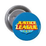 Nombre de la liga de justicia y logotipo del escud pin