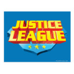 Nombre de la liga de justicia y logotipo del escud postales