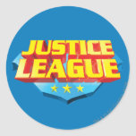 Nombre de la liga de justicia y logotipo del pegatinas redondas
