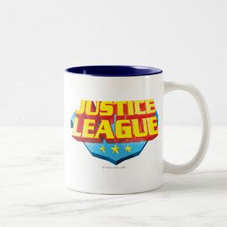Nombre de la liga de justicia y logotipo del taza de dos tonos
