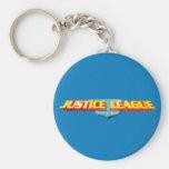 Nombre de la liga de justicia y logotipo finos del llavero redondo tipo pin