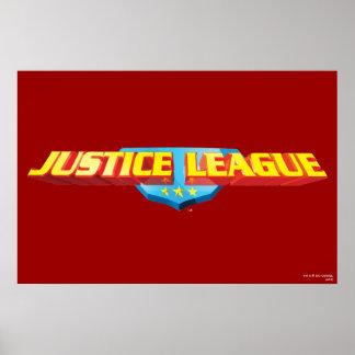 Nombre de la liga de justicia y logotipo finos del impresiones