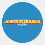 Nombre de la liga de justicia y logotipo finos del pegatina redonda