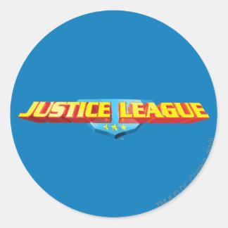 Nombre de la liga de justicia y logotipo finos del etiquetas redondas