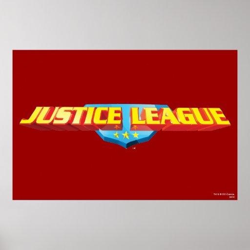 Nombre de la liga de justicia y logotipo finos del póster