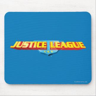 Nombre de la liga de justicia y logotipo finos del tapete de ratones