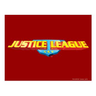 Nombre de la liga de justicia y logotipo finos del tarjeta postal
