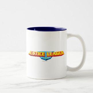 Nombre de la liga de justicia y logotipo finos del taza