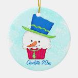 Nombre de la magdalena del muñeco de nieve del adorno de navidad