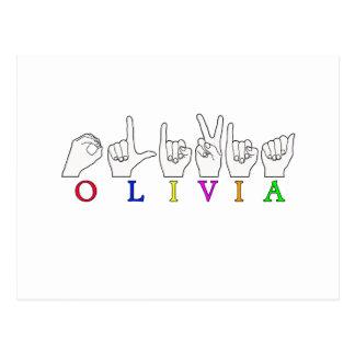 NOMBRE DE LA MUESTRA DE OLIVIA ASL FINGERSPELLED TARJETA POSTAL