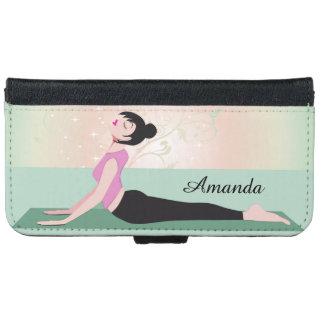 Nombre de la mujer y del monograma de la yoga del funda cartera para iPhone 6