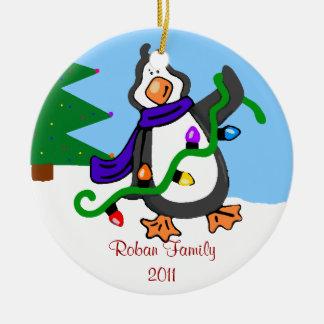 Nombre de la Pingüino-Familia Ornamentos De Navidad