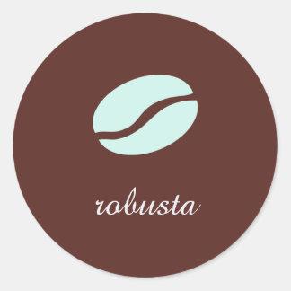 Nombre de la plantilla la variedad de café pegatina redonda