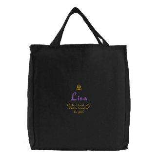 Nombre de Lisa con negro inglés del significado Bolsas Bordadas